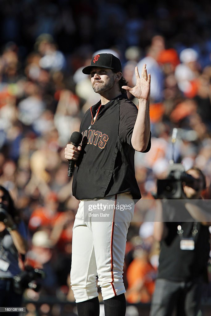 Barry Zito of the San Francisco Giants thanks the fans after his final game with the team against the San Diego Padres at AT&T Park on September 29, 2013 in San Francisco, California. The Giants won 7-6 with a walk-off RBI single in the ninth inning.