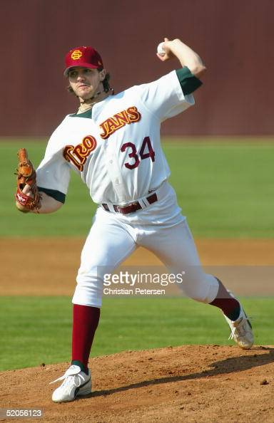 Barry Zito of the USC Trojans Alumni pitches against the USC Trojans during the exhibition game at Dedeaux Field on January 22 2005 in Los Angeles...