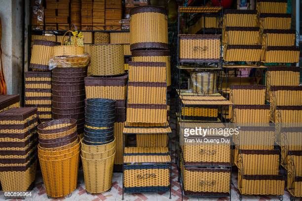 Bars made of bamboo and rattan are on sale.