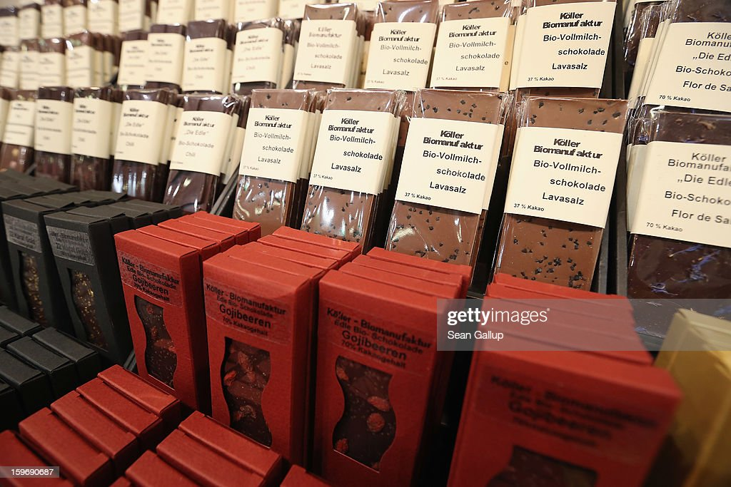Bars of chocolate made from organic products lie on display at the 2013 Gruene Woche agricultural trade fair on January 18, 2013 in Berlin, Germany. The Gruene Woche, which is the world's largest agricultural trade fair, runs from January 18-27, and this year's partner country is Holland.