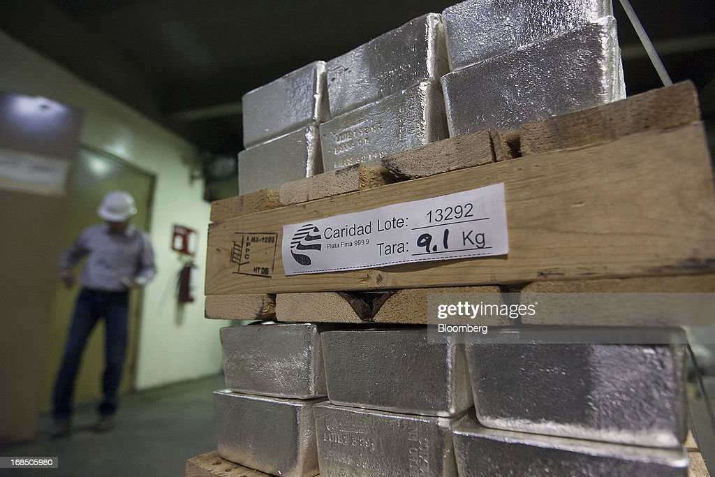 Bars of silver bullion sit in the precious metals vault at Grupo Mexico SAB's La Caridad smelter facility in Sonora, Mexico, on Tuesday, May 7, 2013. Silver prices declined 2.1 percent in New York trading over the week ending May 10. Photographer: Susana Gonzalez/Bloomberg via Getty Images