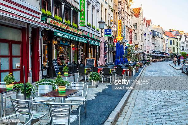 Bars restaurants and cafes in the Oude Koornmarkt in Antwerp