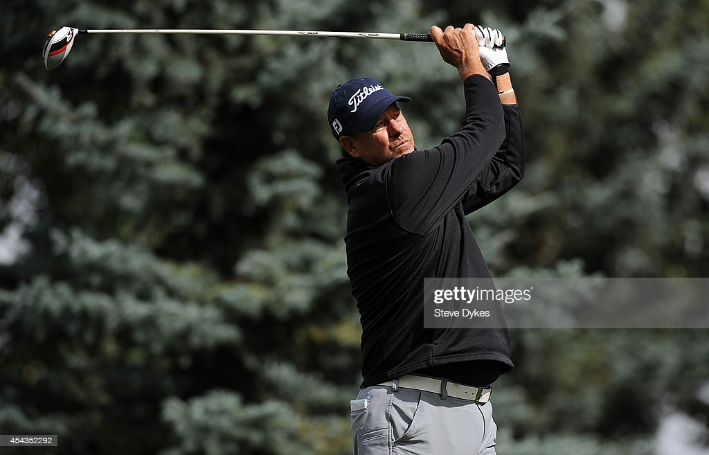 Bart Bryant hits his drive on the fourth hole during the first round of the Shaw Charity Classic on August 29, 2014 in Calgary, Canada.