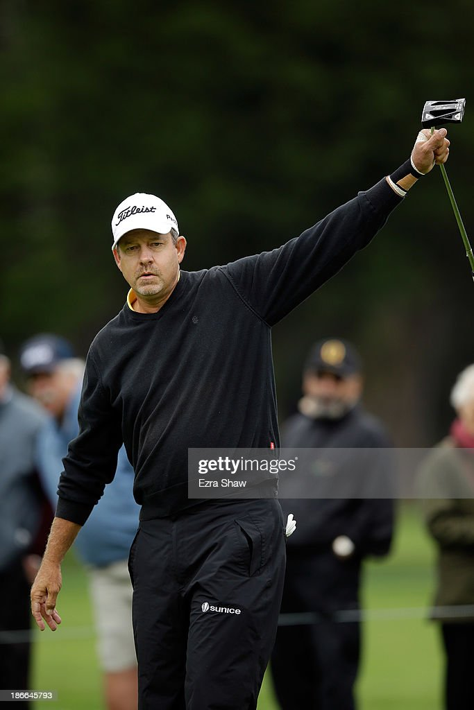 Bart Bryant reacts after he made a birdie putt on the fifth hole during Round Three of the Charles Schwab Cup Championship at TPC Harding Park on November 2, 2013 in San Francisco, California.