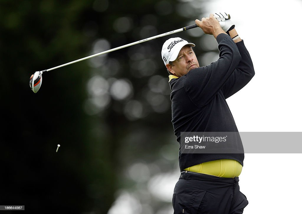 Bart Bryant tees off on the sixth hole during Round Three of the Charles Schwab Cup Championship at TPC Harding Park on November 2, 2013 in San Francisco, California.