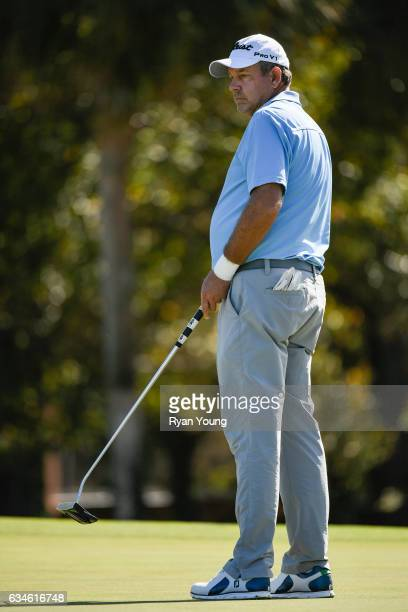 Bart Bryant watches a putt on the fourth hole during the first round of the PGA TOUR Champions Allianz Championship at The Old Course at Broken Sound...