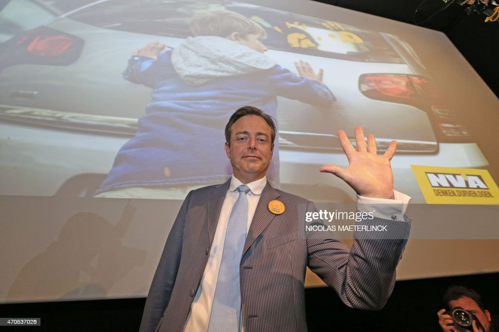 <a gi-track='captionPersonalityLinkClicked' href=/galleries/search?phrase=Bart+De+Wever&family=editorial&specificpeople=4468971 ng-click='$event.stopPropagation()'>Bart De Wever</a>, head of the New Flemish Alliance (N-VA) and mayor or Antwerp gestures during the launch of his party's spring campaign in Brussels, on April 21, 2015.