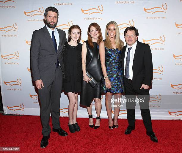 Bart Freundlich Liv Freundlich Julianne Moore Tracy Pollan and Michael J Fox attend '2014 A Funny Thing Happened On The Way To Cure Parkinson's'...