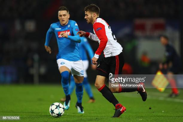 Bart Nieuwkoop of Feyenoord battles for the ball with Piotr Zielinski of Napoli during the UEFA Champions League group F match between Feyenoord and...