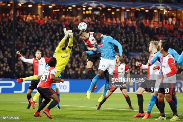 Bart Nieuwkoop of Feyenoord Tyrell Malacia of Feyenoord keeper Kenneth Vermeer of Feyenoord Sven van Beek of Feyenoord Kalidou Koulibaly of SSC...