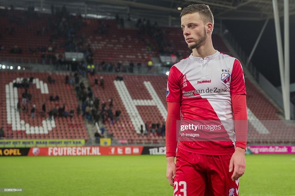 Bart Ramselaar of FC Utrecht during the Dutch Eredivisie match between FC Utrecht and PSV Eindhoven at the Galgenwaard Stadium on February 07, 2016 in Utrecht, The Netherlands