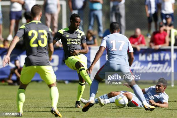 Bart Ramselaar of PSV Joshua Brenet of PSV Youri Tielemans of AS Monaco Rony Marcos Paulo Mesquita Lopes of AS Monaco during the friendly match...