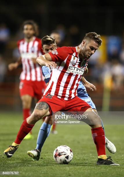 Bart Schenkeveld of City FC and Michael Zullo of Sydney FC contest the ball during the FFA Cup Quarter Final match between Sydney FC and Melbourne...