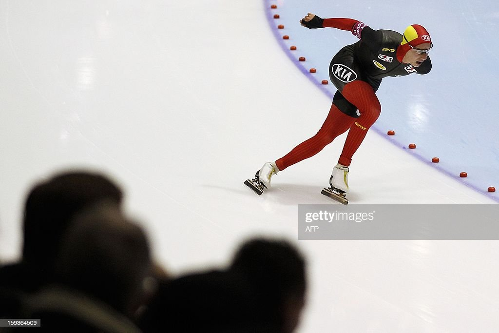 Bart Swings from Belgium competes during the men's 5000 meter race at the European Speed Skating Championships in Heerenveen, Netherlands, on January 11, 2013. The championships started today and be held until January 13. AFP PHOTO / ANP / BAS CZERWINSKI - netherlands out -