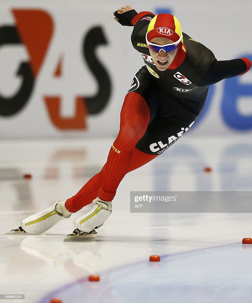 Bart Swings from Belgium competes in the men's 500 meter race at the European Speed Skating Championships in Heerenveen, Netherlands, on January 11, 2013. The championships started today and be held until January 13. AFP PHOTO / ANP / BAS CZERWINSKI - netherlands out -