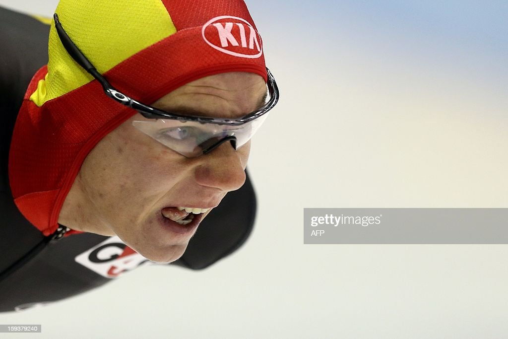 Bart Swings of Belgium competes during the 1500 meters race at the European Speed Skating Championships in Heerenveen, on January 12, 2013. The championships started on January 11 and will end on January 13.
