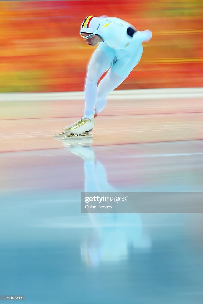 <a gi-track='captionPersonalityLinkClicked' href=/galleries/search?phrase=Bart+Swings&family=editorial&specificpeople=7294720 ng-click='$event.stopPropagation()'>Bart Swings</a> of Belgium competes during the Men's 10000m Speed Skating event on day eleven of the Sochi 2014 Winter Olympics at Adler Arena Skating Center on February 18, 2014 in Sochi, Russia.