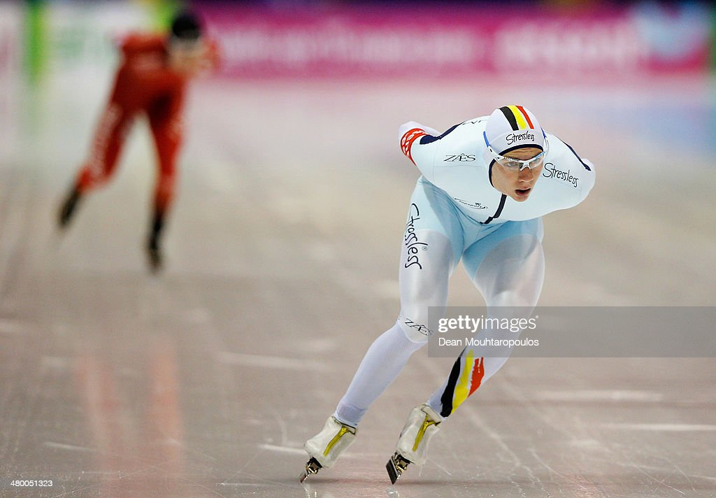 <a gi-track='captionPersonalityLinkClicked' href=/galleries/search?phrase=Bart+Swings&family=editorial&specificpeople=7294720 ng-click='$event.stopPropagation()'>Bart Swings</a> of Belgium competes in the Mens 5000m race during day one of the Essent ISU World Allround Speed Skating Championships at the Thialf Stadium on March 22, 2014 in Heerenveen, Netherlands.