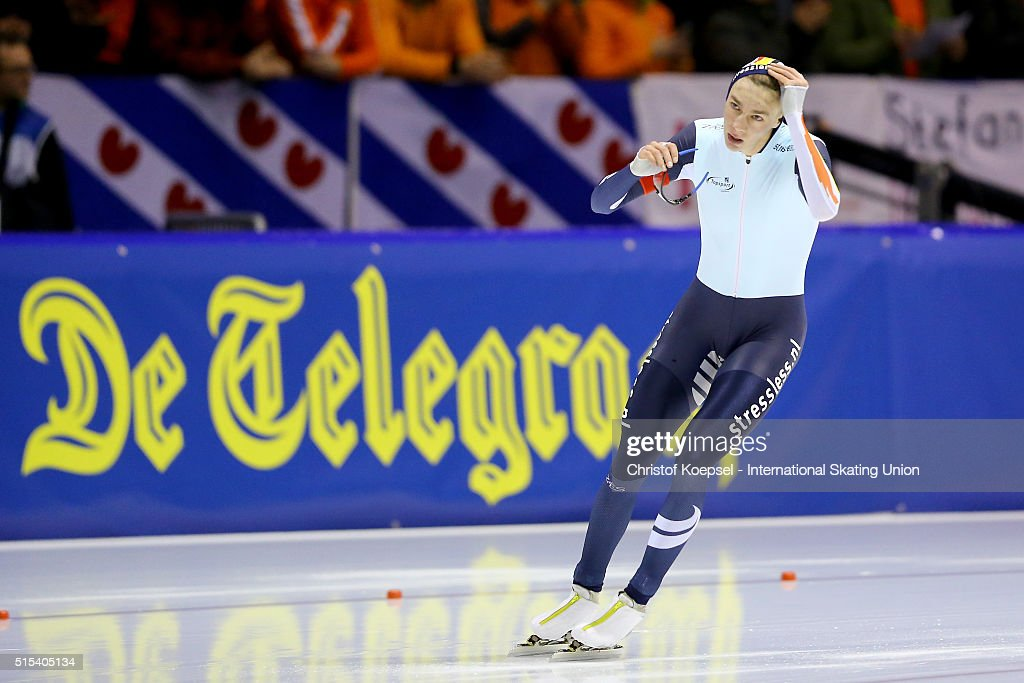 <a gi-track='captionPersonalityLinkClicked' href=/galleries/search?phrase=Bart+Swings&family=editorial&specificpeople=7294720 ng-click='$event.stopPropagation()'>Bart Swings</a> of Belgium reacts after the 1500m men Divison A race during day 3 of ISU Speed Skating World Cup Final at Thialf Ice Arena on March 13, 2016 in Heerenveen, Netherlands.