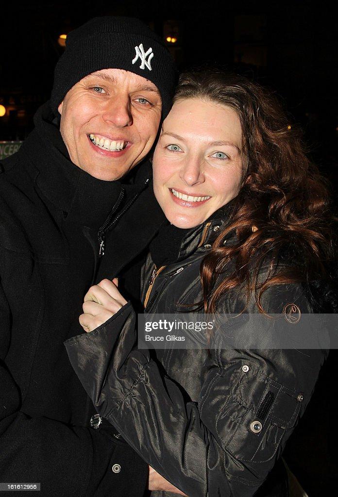 Bart van Hoof and wife Willemijn Verkaik pose at the stagedoor as Willemijn Verkaik makes her Broadway Debut In 'Wicked' On Broadway at The Gershwin Theatre on February 12, 2013 in New York City.
