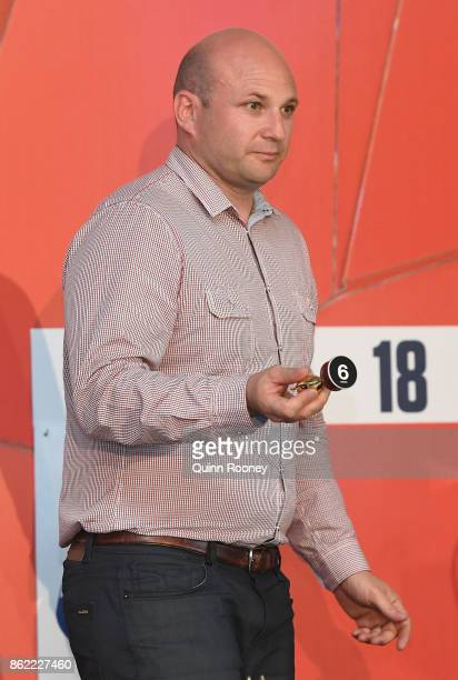 Bart Zame draws barrier 6 for Jon Snow during the Caulfield Cup Barrier Draw at Caulfield Racecourse on October 17 2017 in Melbourne Australia
