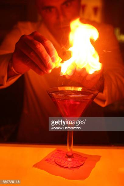 A bartender perfects the art of a new drink called the Negroni at a private New York City party hosted by Campari for a selected group of artists and...