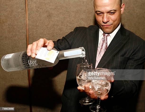 Bartender pours Belvedere Vodka at the celebration of Gotham Magazine's March Issue hosted by Moet Hennessey/LMVH at The Four Seasons Restaurant on...