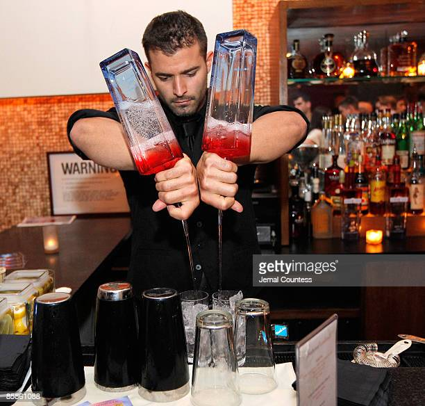 Bartender prepares cocktails made with Americana Vodka at the celebration for cover girl America Ferrera star of the hit show Ugly Betty and avid...
