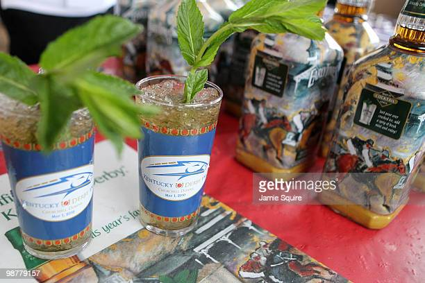 A bartender serves a mint julep prior to the 136th running of the Kentucky Derby on May 1 2010 in Louisville Kentucky