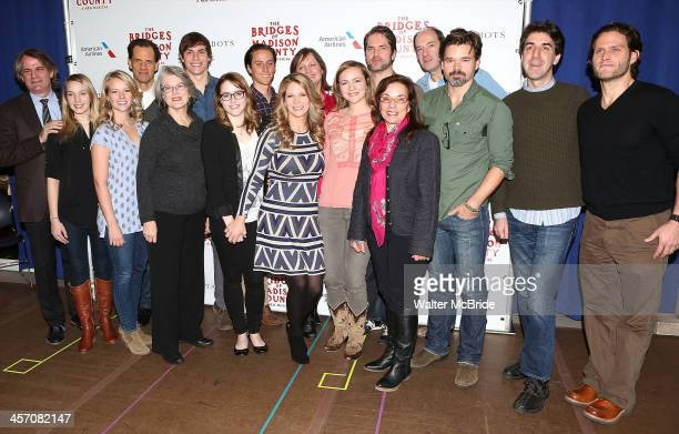 Bartlett Sher Kelli O'Hara Marsha Norman Hunter Foster Jason Robert Brown Steven Pasquale with the ensemble attend the 'The Bridges of Madison...