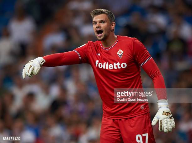 Bartlomiej Dragowski of Fiorentina reacts during the Trofeo Santiago Bernabeu match between Real Madrid and ACF Fiorentina at Estadio Santiago...