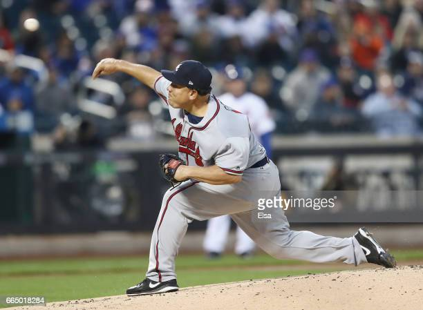 Bartolo Colon of the Atlanta Braves delivers a pitch in the first inning against the New York Mets on April 5 2017 at Citi Field in the Flushing...