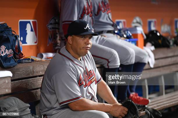 Bartolo Colon of the Atlanta Braves in between innings during the home opener against the Atlanta Braves at Marlins Park on April 11 2017 in Miami...