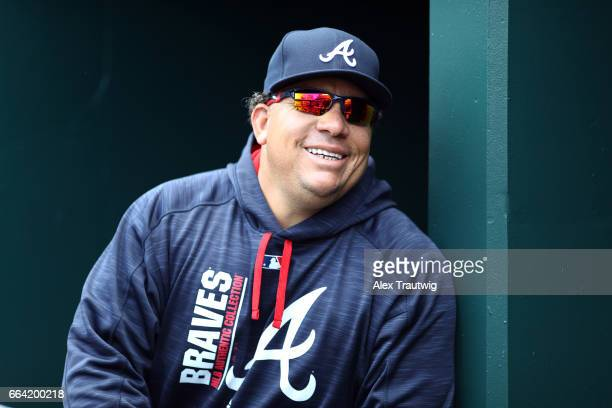 Bartolo Colon of the Atlanta Braves looks on from the dugout during the game against the New York Mets at Citi Field on Monday April 3 2017 in the...