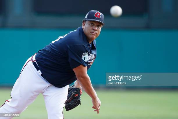 Bartolo Colon of the Atlanta Braves pitches against the Toronto Blue Jays during the spring training game at Champion Stadium on February 25 2017 in...