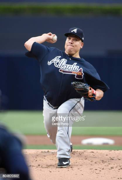 Bartolo Colon of the Atlanta Braves pitches during the first inning of a baseball game against the San Diego Padres at PETCO Park on June 28 2017 in...