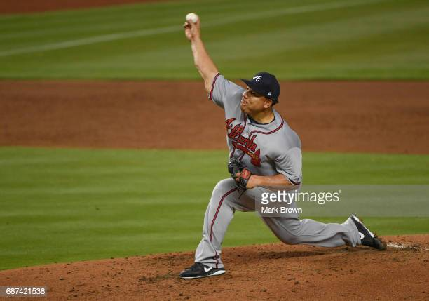 Bartolo Colon of the Atlanta Braves pitches in the first inning in the home opener against the Atlanta Braves at Marlins Park on April 11 2017 in...