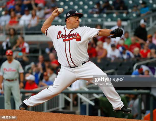 Bartolo Colon of the Atlanta Braves pitches in the first inning against the Philadelphia Phillies at SunTrust Park on June 5 2017 in Atlanta Georgia
