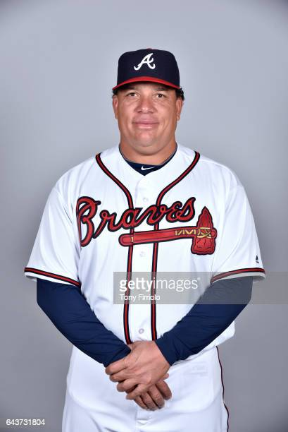 Bartolo Colon of the Atlanta Braves poses during Photo Day on Tuesday February 21 2017 at Champion Stadium in Lake Buena Vista Florida