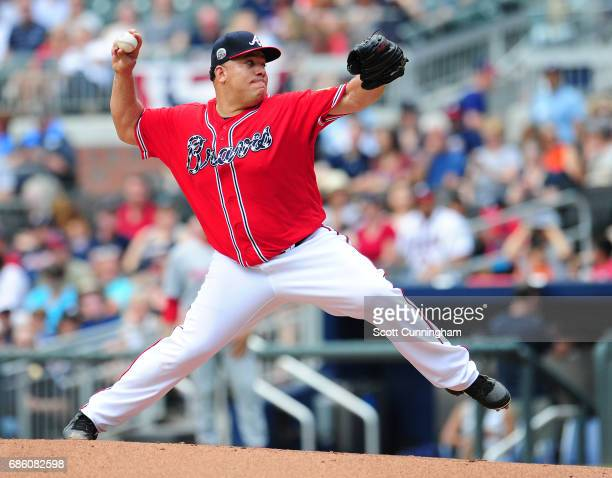 Bartolo Colon of the Atlanta Braves throws a second inning pitch against the Washington Nationals at SunTrust Park on May 20 2017 in Atlanta Georgia