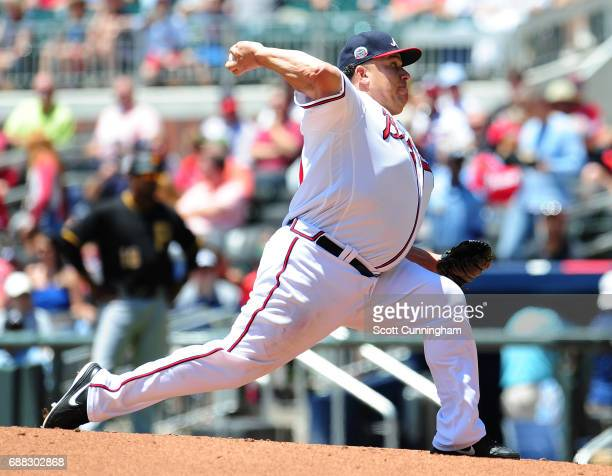 Bartolo Colon of the Atlanta Braves throws a third inning pitch against the Pittsburgh Pirates at SunTrust Park on May 25 2017 in Atlanta Georgia