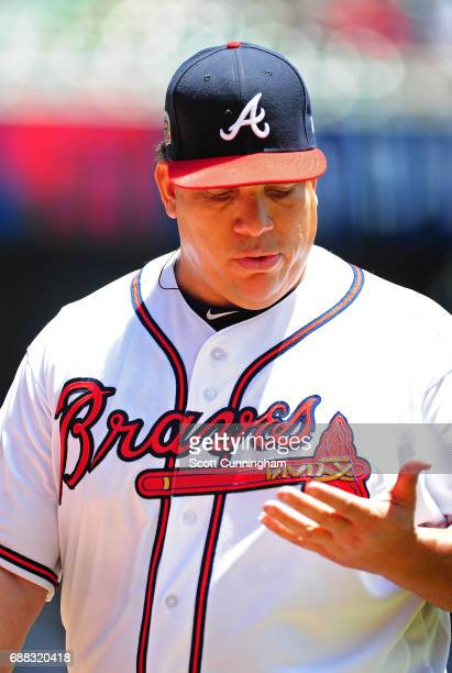 Bartolo Colon of the Atlanta Braves walks off the field after giving up five second inning runs against the Pittsburgh Pirates at SunTrust Park on...