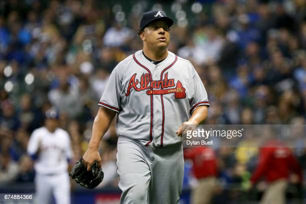 Bartolo Colon of the Atlanta Braves walks off the field after the fifth inning against the Milwaukee Brewers at Miller Park on April 28 2017 in...