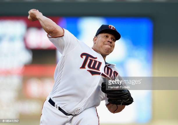 Bartolo Colon of the Minnesota Twins delivers a pitch against the New York Yankees during the second inning of the game on July 18 2017 at Target...