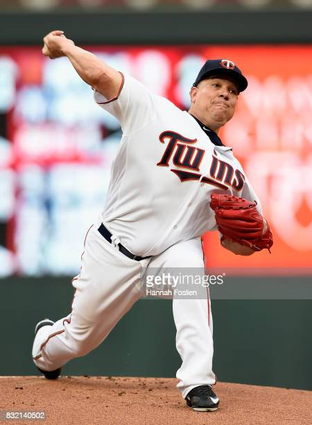 Bartolo Colon of the Minnesota Twins delivers a pitch against the Cleveland Indians during the first inning of the game on August 15 2017 at Target...