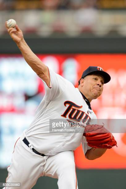 Bartolo Colon of the Minnesota Twins delivers a pitch against the Cleveland Indians during the game on August 15 2017 at Target Field in Minneapolis...
