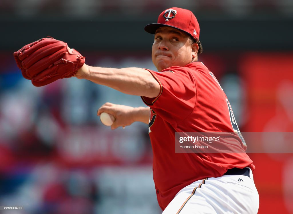 Bartolo Colon #40 of the Minnesota Twins delivers a pitch against the Arizona Diamondbacks during the first inning of the game on August 20, 2017 at Target Field in Minneapolis, Minnesota. The Twins defeated the Diamondbacks 12-5.