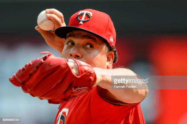 Bartolo Colon of the Minnesota Twins delivers a pitch against the Arizona Diamondbacks during the game on August 20 2017 at Target Field in...