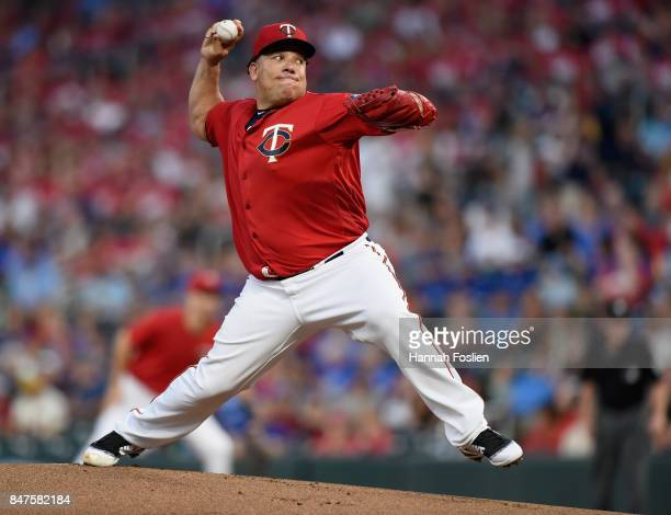 Bartolo Colon of the Minnesota Twins delivers a pitch against the Toronto Blue Jays during the first inning of the game on September 15 2017 at...