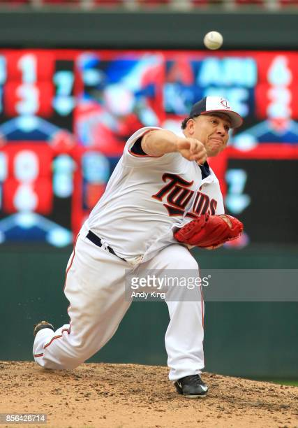 Bartolo Colon of the Minnesota Twins pitches against the Detroit Tigers in the first inning during their baseball game on October 1 at Target Field...